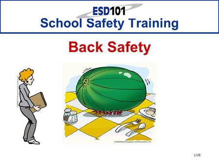 1/05 School Safety Training Back Safety. 2 Notice  This presentation is provided to all Educational Service District 101 (ESD 101) schools at no cost.