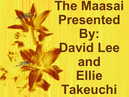 The Maasai Presented By: David Lee and Ellie Takeuchi.
