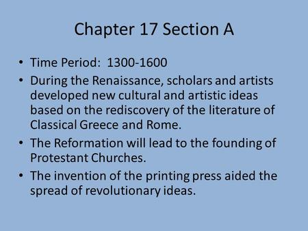 Chapter 17 Section A Time Period: