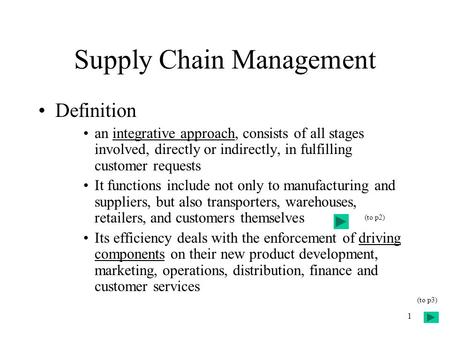 1 Supply Chain Management Definition an integrative approach, consists of all stages involved, directly or indirectly, in fulfilling customer requests.
