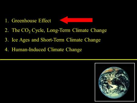 1.Greenhouse Effect 2.The CO 2 Cycle, Long-Term Climate Change 3.Ice Ages and Short-Term Climate Change 4.Human-Induced Climate Change.