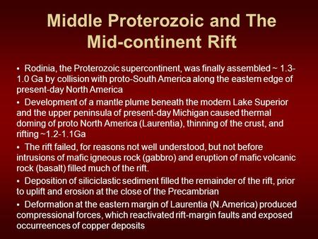 Middle Proterozoic and The Mid-continent Rift