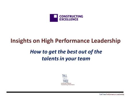 Insights on High Performance Leadership