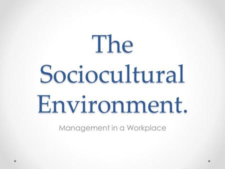 The Sociocultural Environment. Management in a Workplace.