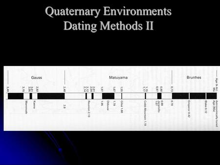 Quaternary Environments Dating Methods II. Paleomagnetism  Major Reversals  Aperiodic global-scale geomagnetic reversals  Dipole changes  Secular.