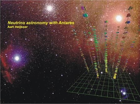 Neutrino astronomy with Antares Aart Heijboer. Research to fundamental building blocks of matter Research on the Universe using those particles.