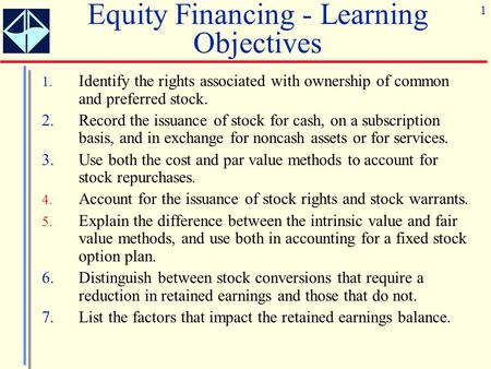 Equity Financing - Learning Objectives
