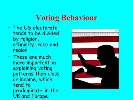 Voting Behaviour The US electorate tends to be divided by religion, ethnicity, race and region. These are much more important in explaining voting patterns.