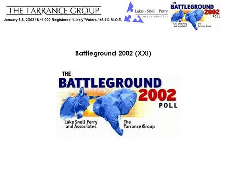 "January 6-8, 2002 / N=1,000 Registered ""Likely""Voters / ±3.1% M.O.E. Battleground 2002 (XXI)"