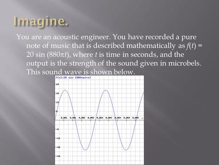 You are an acoustic engineer. You have recorded a pure note of music that is described mathematically as f ( t ) = 20 sin (880  t ), where t is time in.