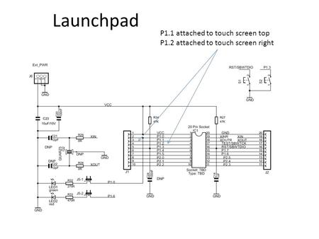 Launchpad P1.1 attached to touch screen top P1.2 attached to touch screen right.
