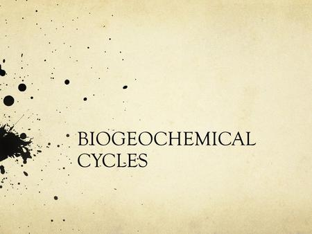 BIOGEOCHEMICAL CYCLES. Law of conservation-atoms atoms neither created or destroyed Same atoms must be passed around again and again CHNOPS make up 98%