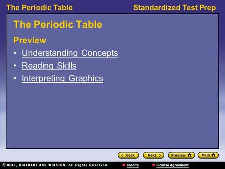 The Periodic Table Preview Understanding Concepts Reading Skills