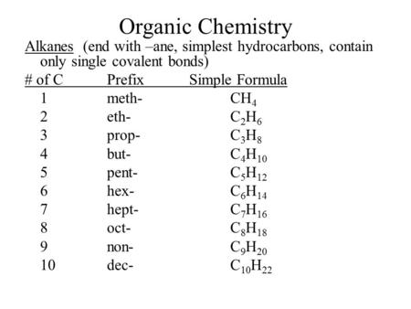 Organic Chemistry Alkanes (end with –ane, simplest hydrocarbons, contain only single covalent bonds) # of C Prefix Simple Formula 1 meth- CH4 2 eth- C2H6.