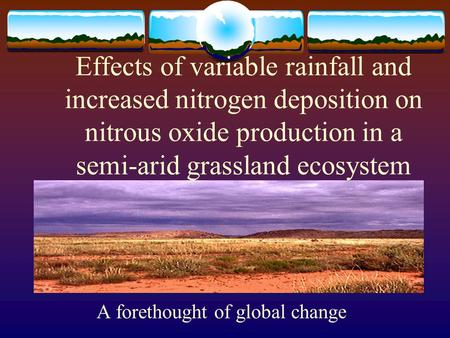 Effects of variable rainfall and increased nitrogen deposition on nitrous oxide production in a semi-arid grassland ecosystem A forethought of global change.