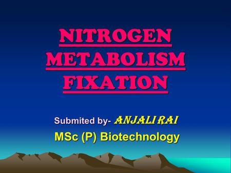 NITROGEN METABOLISM FIXATION Submited by- Anjali Rai MSc (P) Biotechnology MSc (P) Biotechnology.
