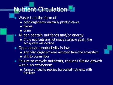 Nutrient Circulation Waste is in the form of dead organisms: animals/ plants/ leaves faeces urine All can contain nutrients and/or energy If the nutrients.