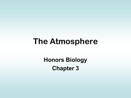 The Atmosphere Honors Biology Chapter 3. Definition Layer of gases surrounding the geosphere Includes nitrogen, oxygen, carbon dioxide, and smaller amounts.
