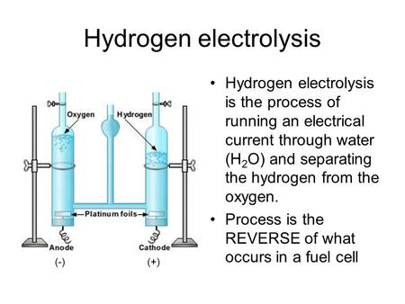 Hydrogen electrolysis Hydrogen electrolysis is the process of running an electrical current through water (H 2 O) and separating the hydrogen from the.