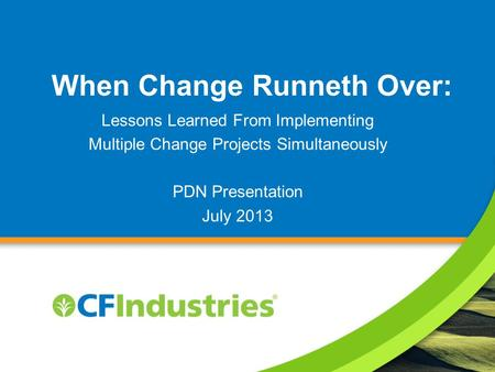 When Change Runneth Over: Lessons Learned From Implementing Multiple Change Projects Simultaneously PDN Presentation July 2013.
