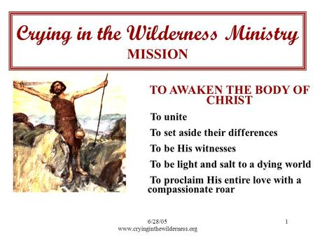 6/28/05 www.cryinginthewilderness.org 1 TO AWAKEN THE BODY OF CHRIST To unite To set aside their differences To be His witnesses To be light and salt to.
