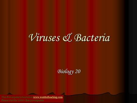 Viruses & Bacteria Biology 20 This Powerpoint is hosted on www.worldofteaching.comwww.worldofteaching.com Please visit for 1000+ free powerpoints.
