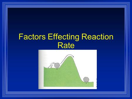 Factors Effecting Reaction Rate. Collision Theory In order to react molecules and atoms must touch each other. They must hit each other hard enough to.