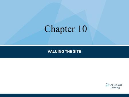 VALUING THE SITE Chapter 10. CHAPTER TERMS AND CONCEPTS Abstraction method Allocation method Developer's profit Development method Elements of comparison.