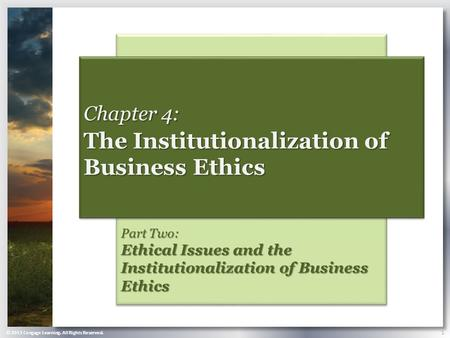 © 2013 Cengage Learning. All Rights Reserved. 1 Part Two: Ethical Issues and the Institutionalization of Business Ethics Chapter 4: The Institutionalization.