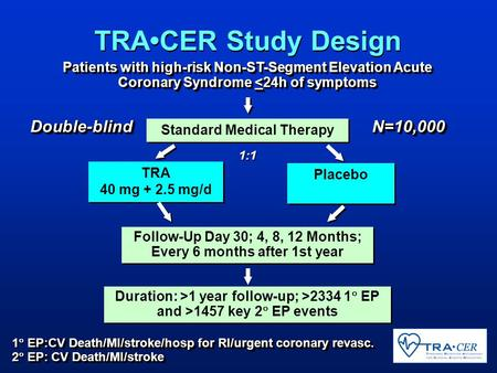 Standard Medical Therapy TRA 40 mg + 2.5 mg/d TRA 40 mg + 2.5 mg/d Placebo EP:CV Death/MI/stroke/hosp for RI/urgent coronary revasc. 1  EP:CV Death/MI/stroke/hosp.