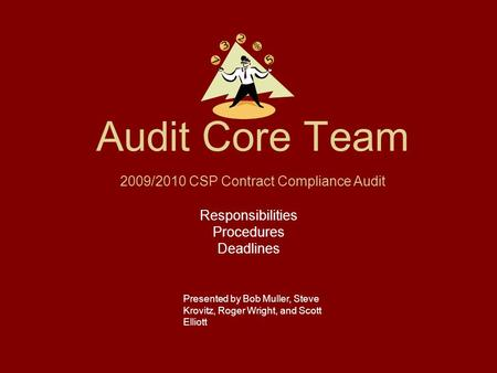 Audit Core Team Responsibilities Procedures Deadlines Presented by Bob Muller, Steve Krovitz, Roger Wright, and Scott Elliott 2009/2010 CSP Contract Compliance.