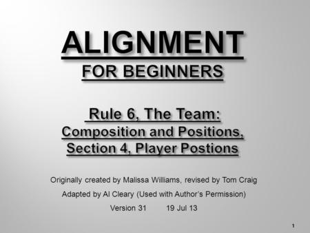 1 Originally created by Malissa Williams, revised by Tom Craig Adapted by Al Cleary (Used with Author's Permission) Version 31 19 Jul 13.