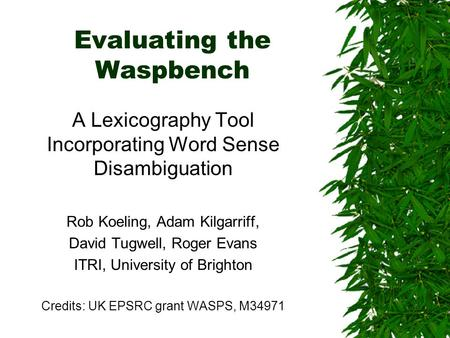 Evaluating the Waspbench A Lexicography Tool Incorporating Word Sense Disambiguation Rob Koeling, Adam Kilgarriff, David Tugwell, Roger Evans ITRI, University.