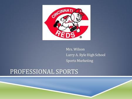 PROFESSIONAL SPORTS Mrs. Wilson Larry A. Ryle High School Sports Marketing.
