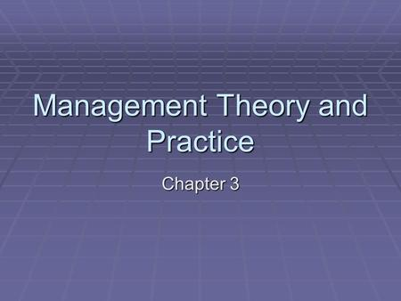 Management Theory and Practice Chapter 3. Facility Management  Facility Management focuses on managing equipment and structures to make sure they are.