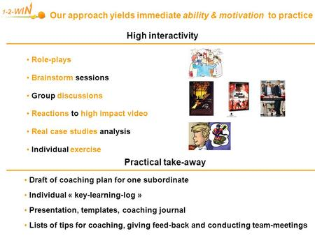 1- 2- W I N Our approach yields immediate ability & motivation to practice Draft of coaching plan for one subordinate Individual « key-learning-log » <strong>Presentation</strong>,
