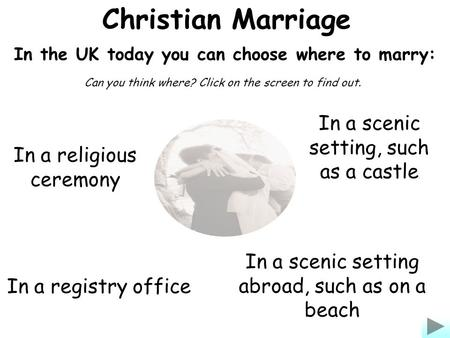 Christian Marriage In the UK today you can choose where to marry: In a religious ceremony In a registry office In a scenic setting abroad, such as on a.