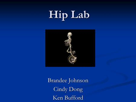 Hip Lab Brandee Johnson Cindy Dong Ken Bufford. Hip joint is a --------------------- joint? Ball-and-socket Ball-and-socket.