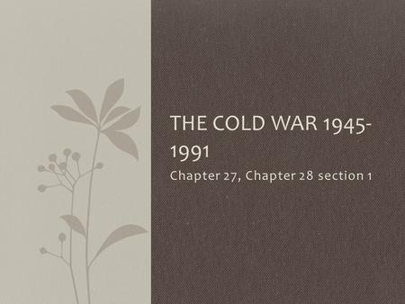 Chapter 27, Chapter 28 section 1 THE COLD WAR 1945- 1991.