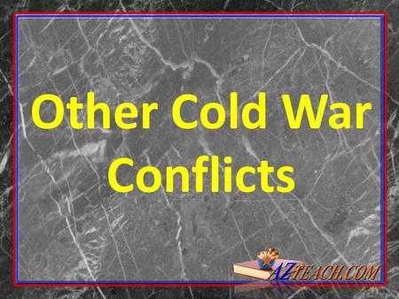 Other Cold War Conflicts. Korea is divided at the 38 th parallel in 1945 U.S. controls the South, the Soviets the North Each country sets up governments.