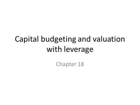 Capital budgeting and valuation with leverage