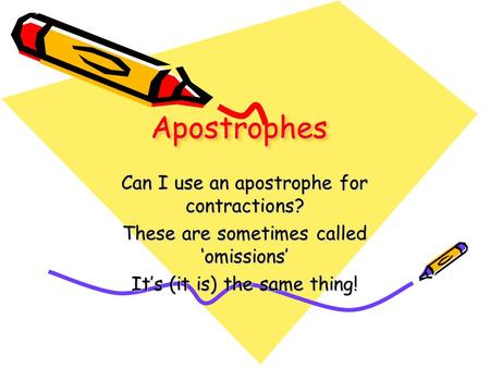 ApostrophesApostrophes Can I use an apostrophe for contractions? These are sometimes called 'omissions' It's (it is) the same thing!