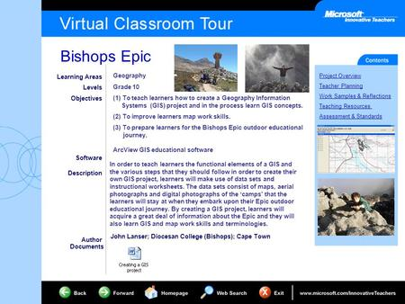 Bishops Epic Project Overview Teacher Planning Work Samples & Reflections Teaching Resources Assessment & Standards Learning Areas Levels Objectives Software.