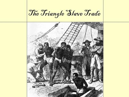 The Triangle Slave Trade The Triangular Trade European ships laden with goods such as copper, cloth, guns, and ammunition embark for Africa. European.