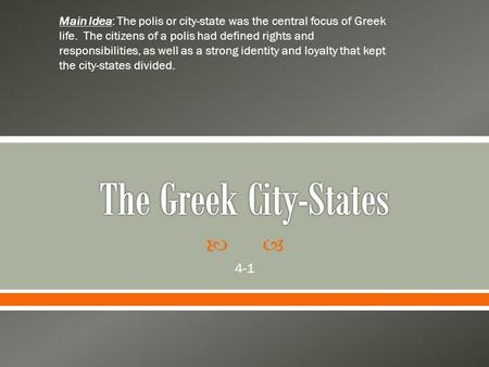 The Greek City-States 4-1