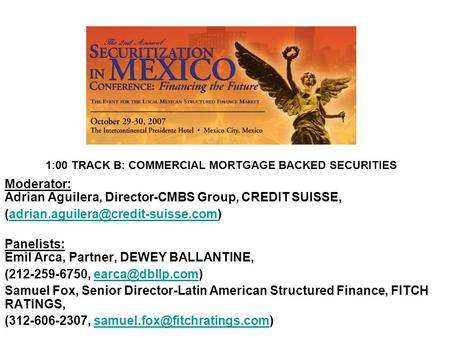 1:00 TRACK B: COMMERCIAL MORTGAGE BACKED SECURITIES