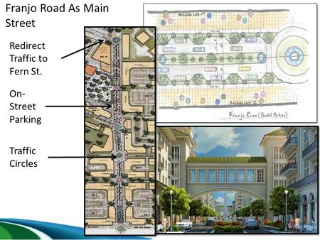 Franjo Road As Main Street Redirect Traffic to Fern St. Traffic Circles On- Street Parking.