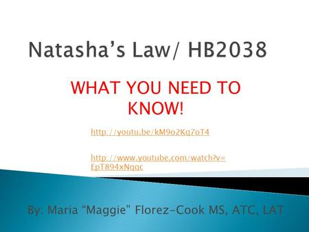 "By: Maria ""Maggie"" Florez-Cook MS, ATC, LAT WHAT YOU NEED TO KNOW!  EpT894xNqqc"