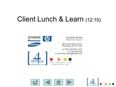 Client Lunch & Learn (12:15). Association for Information & Image Management Nov. 2010 Research Scanner Utilization.