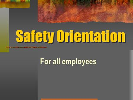 Safety Orientation For all employees. Introduction Your agency's success is built around quality, teamwork and professionalism. Part of this professionalism.